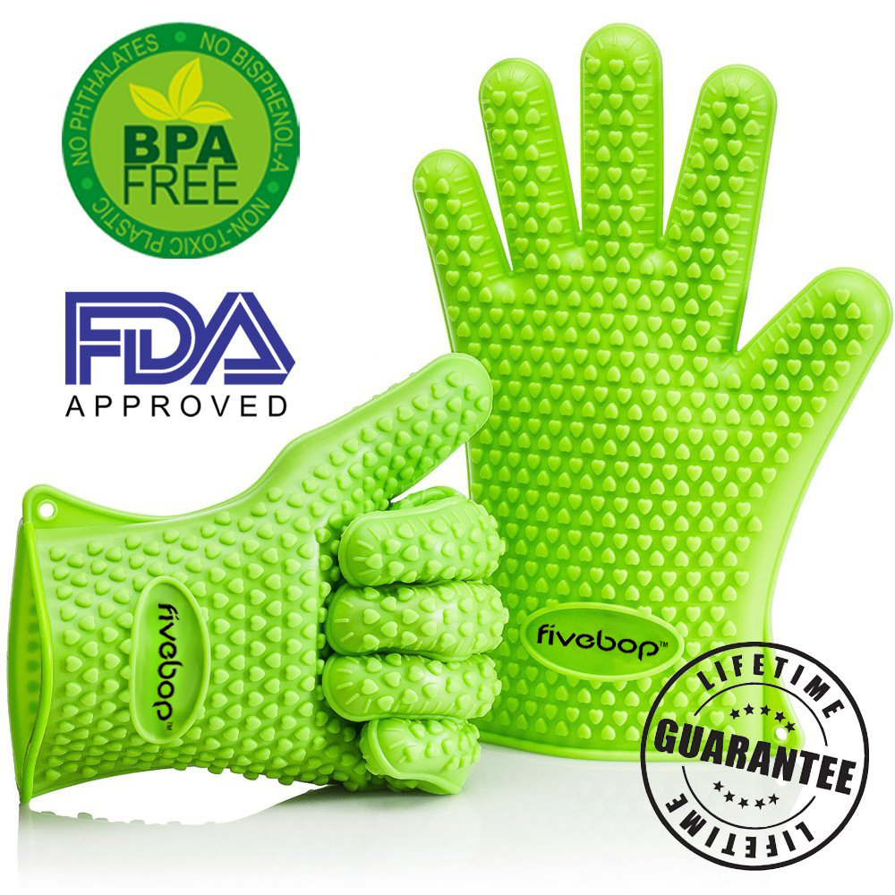 Fivebop™ Silicone Oven Gloves with Fingers - BBQ Oven Mitts - Neon Green