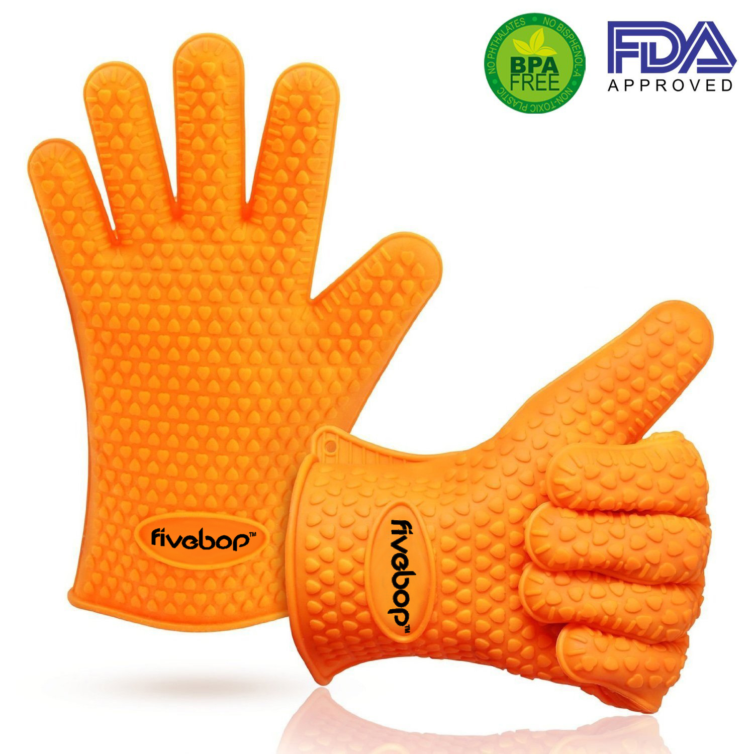 Fivebop™ Silicone Oven Gloves with Fingers - BBQ Oven Mitts - Orange