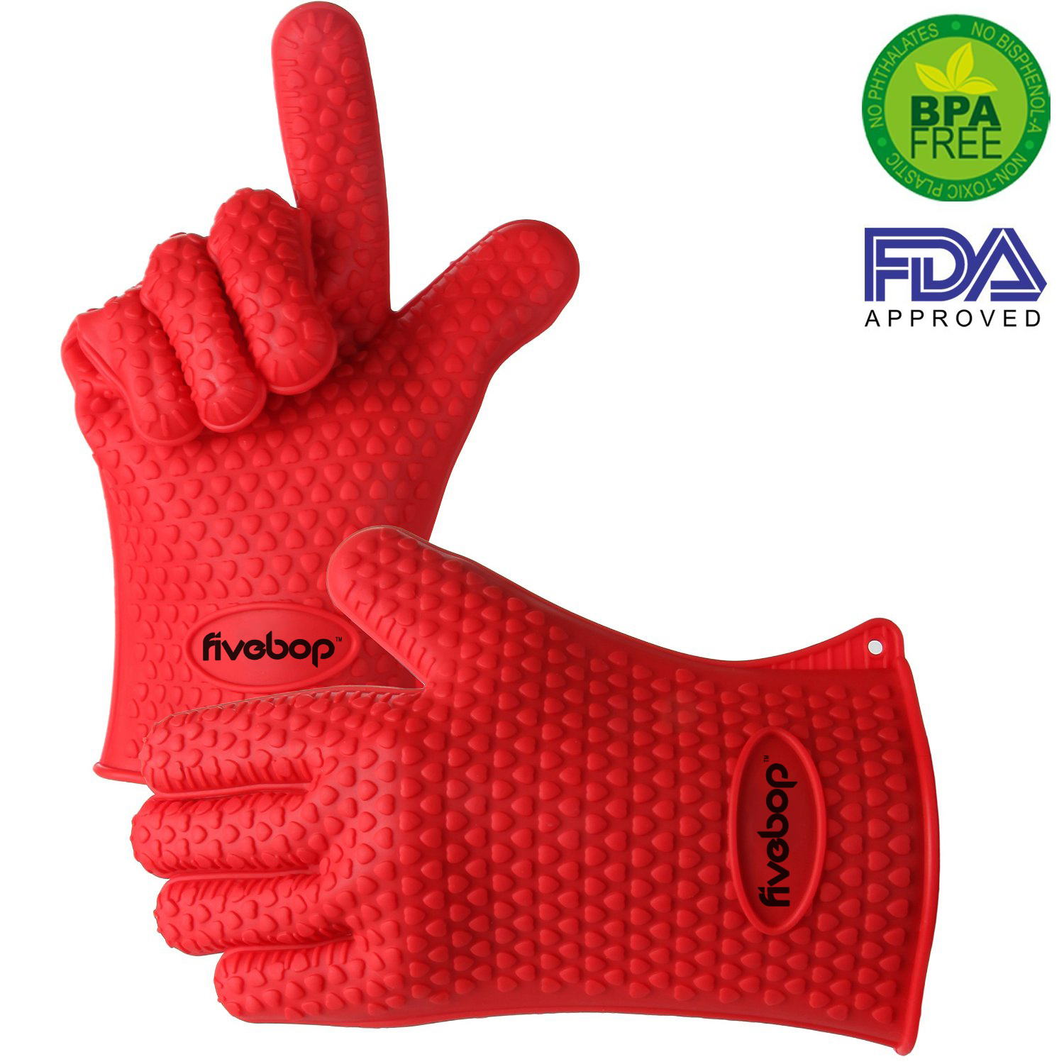 Fivebop™ Silicone Oven Gloves with Fingers - BBQ Oven Mitts - Red