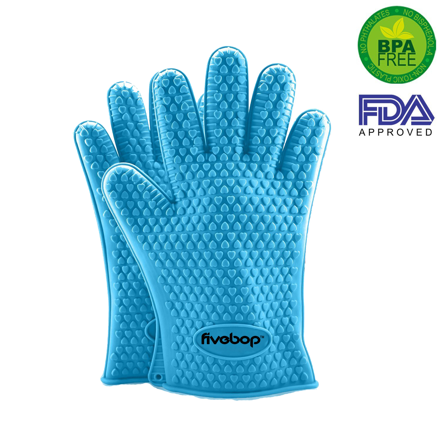 Fivebop™ Silicone Oven Gloves with Fingers - BBQ Oven Mitts - Sky Blue